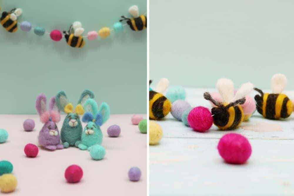 easter craft idea - needle felted easter garland and easter egg bunnies by Lincolnshire Fenn Crafts - get easy step by steps and video tutorial to make your own beautiful easter decorations #easter #craft #decorations #garland #bunny
