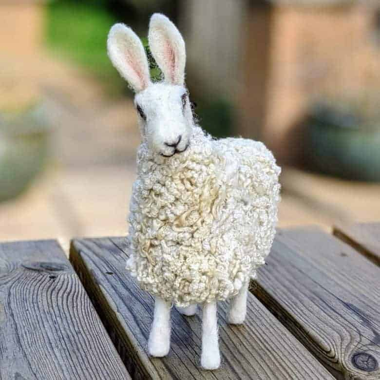 felted sheep handmade by sandy of lincolnshire fenn crafts who shares her three easter craft ideas to enjoy this spring #easter #craft #sheep