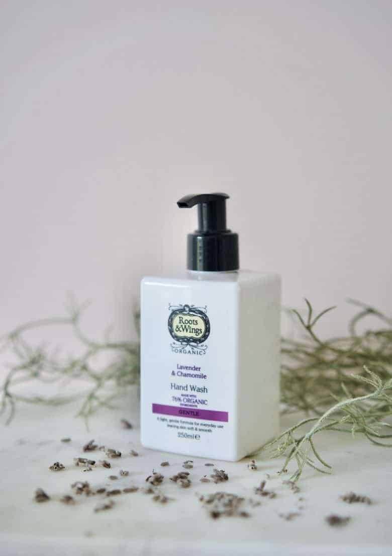 lavender and chamomile organic hand wash gentle by roots & wings - ethically made in the UK using organic ingredients, vegan, cruelty free and natural #skincare #organic #lavender #chamomile #vegan #handwash