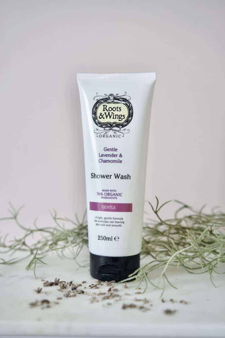 lavender and chamomile organic shower wash gentle by roots & wings - ethically made in the UK using organic ingredients, vegan, cruelty free and natural #skincare #organic #lavender #chamomile #vegan