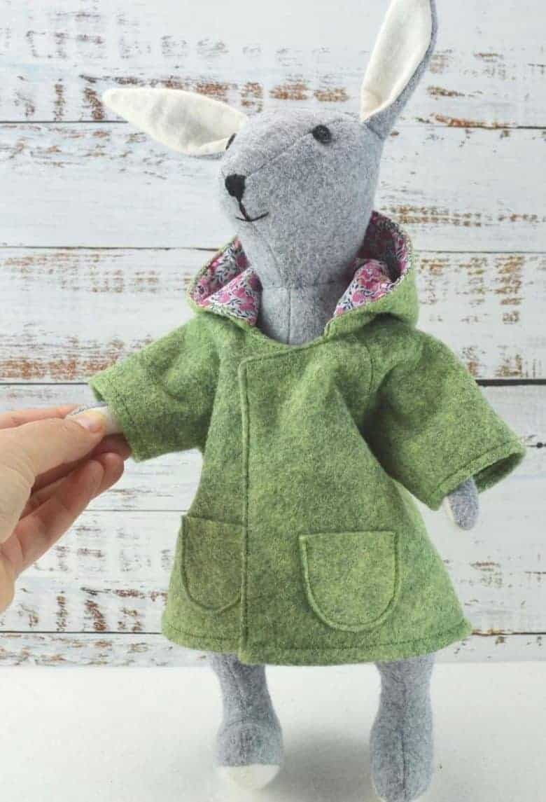 sewing pattern clothes soft toys coat anorak duffle coat for bluebell rabbit felt sewing pattern kit on Etsy