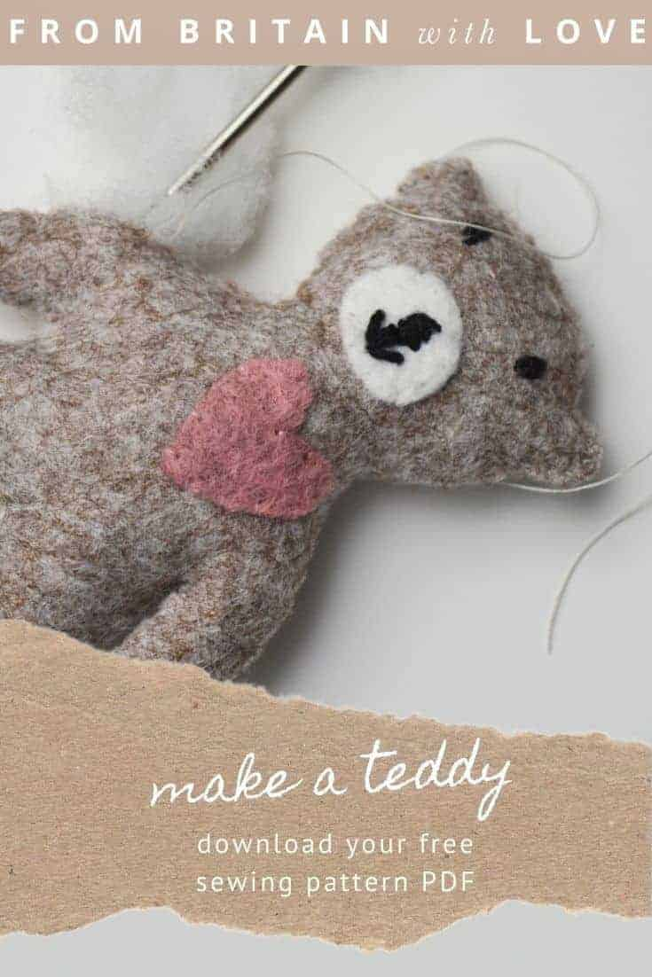 tiny teddy bear free sewing pattern PDF by A Sewing Life with beautiful pattern to download as well as expert tips and step by steps from Lisa herself #teddy #bear #sewing #pattern #etsy #free #frombritainwithlove
