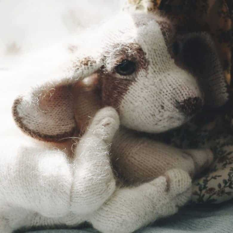 puppy knitting pattern by claire garland of dot pebbles knits - save 40% on Etsy with our unique discount code and get expert tips from Claire herself #puppy #knittingpattern #dog #discount #download #knitting