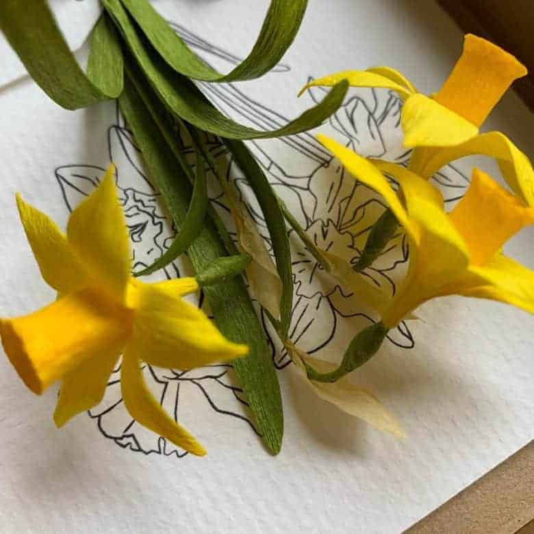 handmade paper daffodils spring easter card keepsake by the nature of paper on etsy #etsy #paper #flowers #daffodil #spring #frombritainwithlove