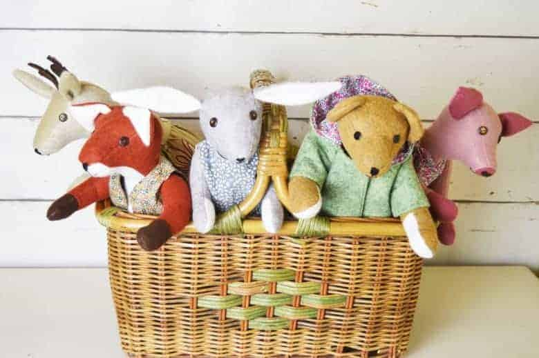 a sewing life teddy bear, fox, rabbit, fox, pig and reindeer soft toy sewing pattern kits by A Sewing Life on Etsy UK