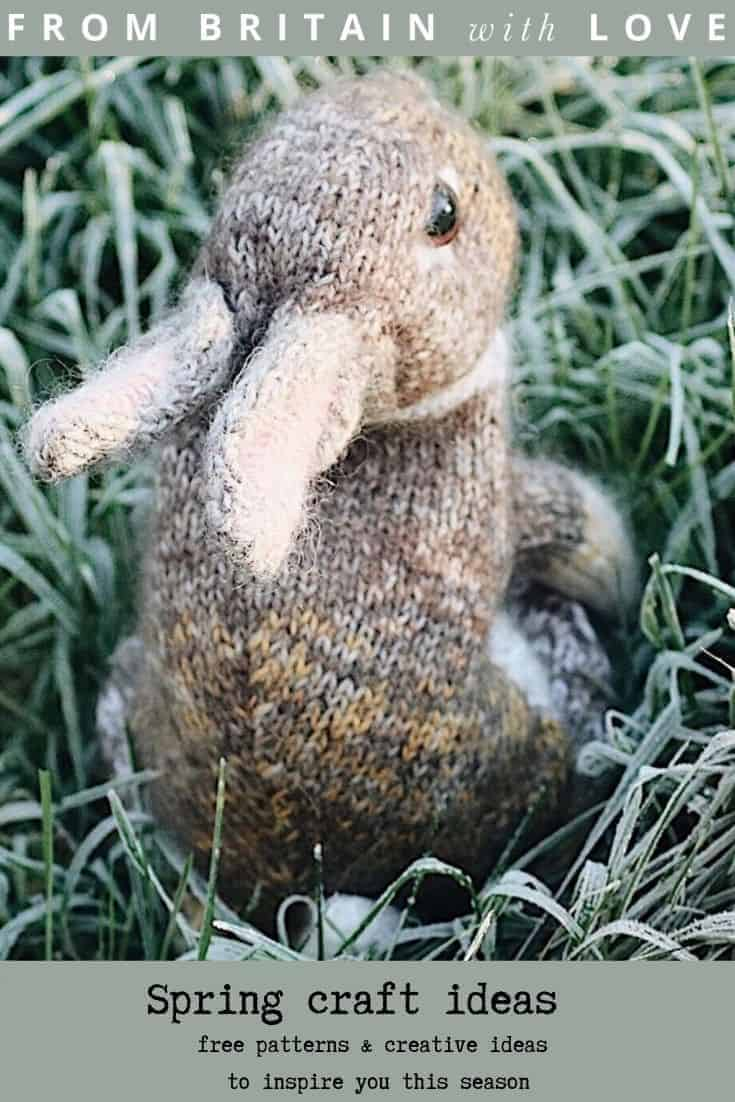 love this wild rabbit knitting pattern by Claire Garland aka dot pebbles knits - perfect craft idea for spring and available to buy on Etsy - we also share a free pattern by Claire to make a baby bunny and other free sewing patterns #knitting #pattern #spring #craft #bunny #rabbit