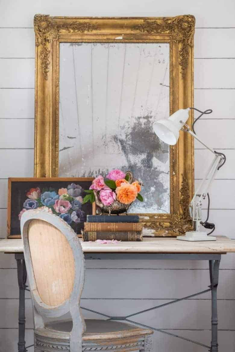 country cottage vintage mirror and desk study living room with antique painting and vintage books #country #cottage #livingroom #desk #vintagemirror