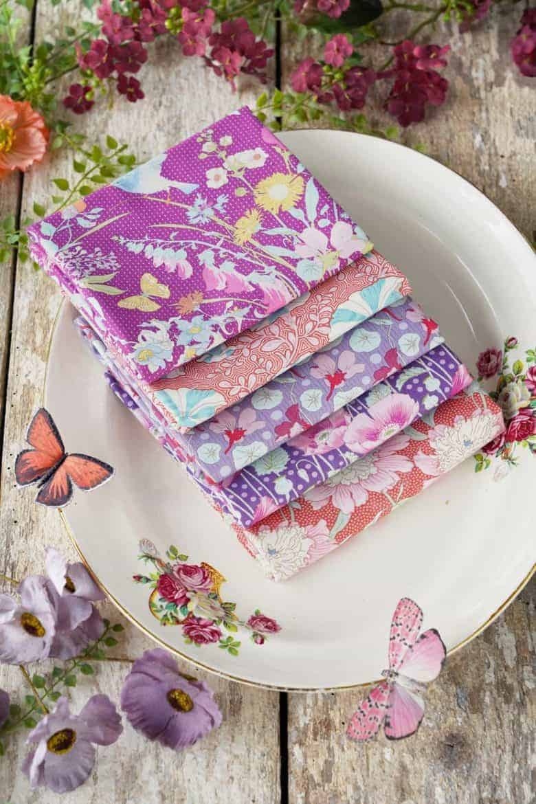 tilda gardenlife fabric lilac and coral florals for patchwork
