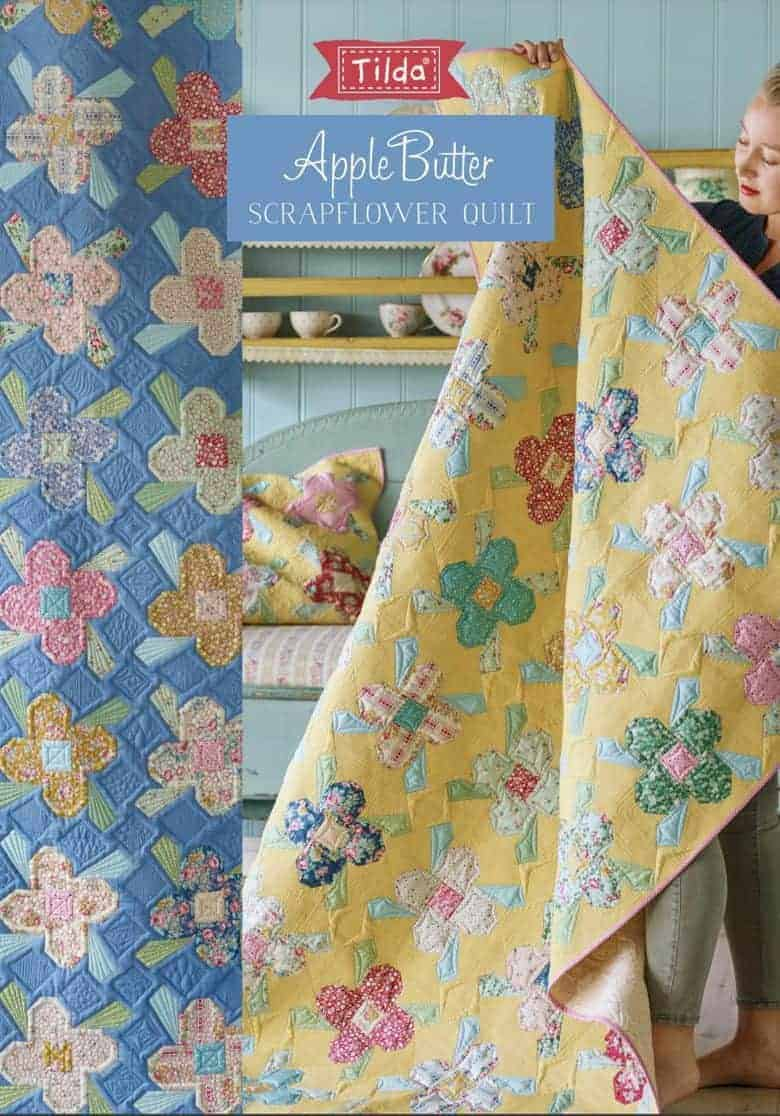 scrapflower patchwork quilt pattern free tilda apple butter yellow or blue - get your free pattern PDF download with all the info you need to make your own beautiful patchwork quilt