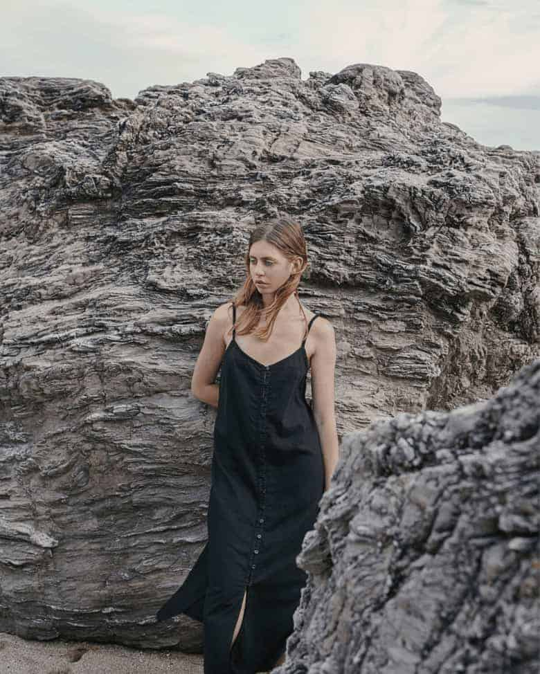 black strappy linen dress with buttons down the front and slit - sustainably made in the UK by Kaely Russell using oeoko-tex certified linen and handcrafted with conscious care to be worn season after season and only get better with wear #black #linen #dress #strappy #ethical #eco #conscious