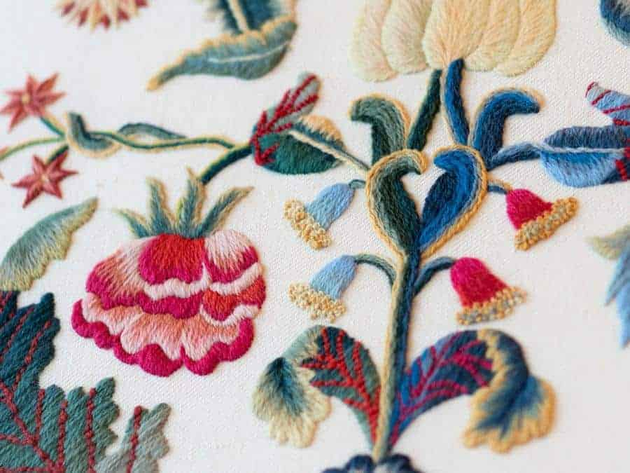 Burghley House bedhead crewel work embroidery kit