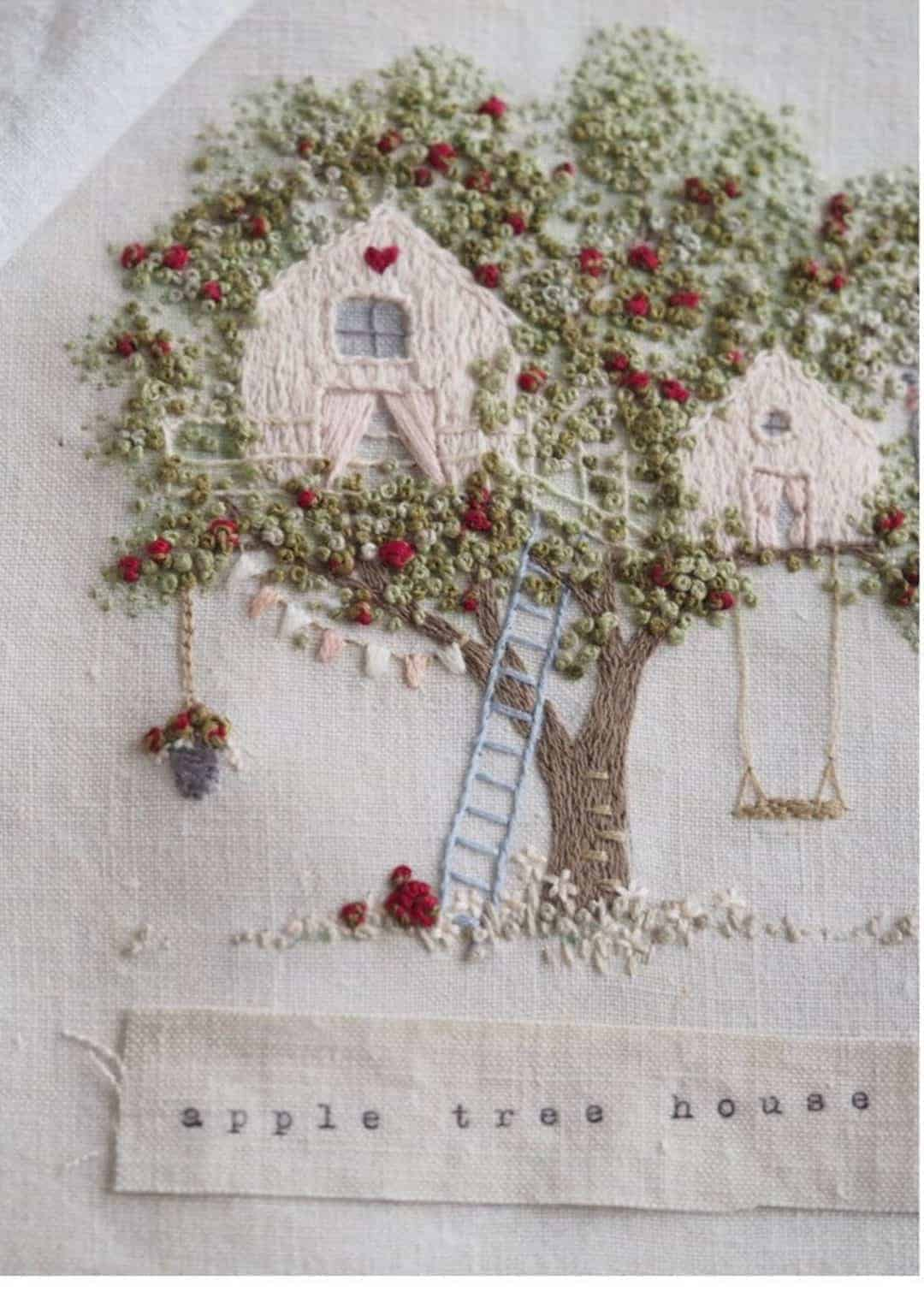 crewel embroidery kit apple tree house design on antique linen available to buy as a DIY kit from Etsy just one of the beautiful ideas I've shared with links to everything you need to enjoy crewel embroidery #crewel #embroidery #diy #kits #apple #treehouse