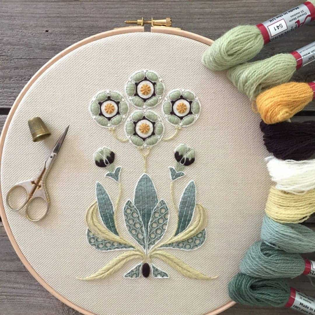 crewel embroidery kit auricula flowers available to buy as a DIY kit from Etsy just one of the beautiful ideas I've shared with links to everything you need to enjoy crewel embroidery #crewel #embroidery #diy #kits #auricula