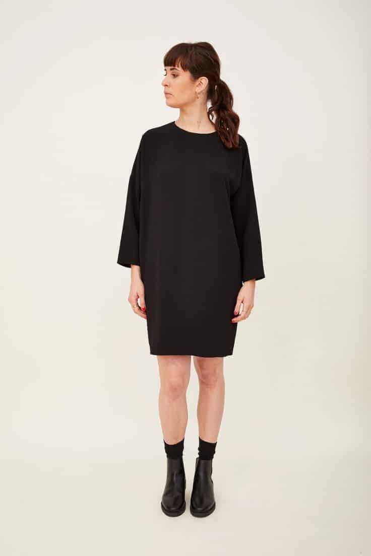 Love this black crepe cocoon loose fitting dress part of sustainable clothing collection by h.huna - a wardrobe of well considered key pieces that all work together perfectly to take you anywhere, in all seasons and that you'll wear for years #black #crepe #cocoon #dress  #madeinbritain #sustainable #clothing
