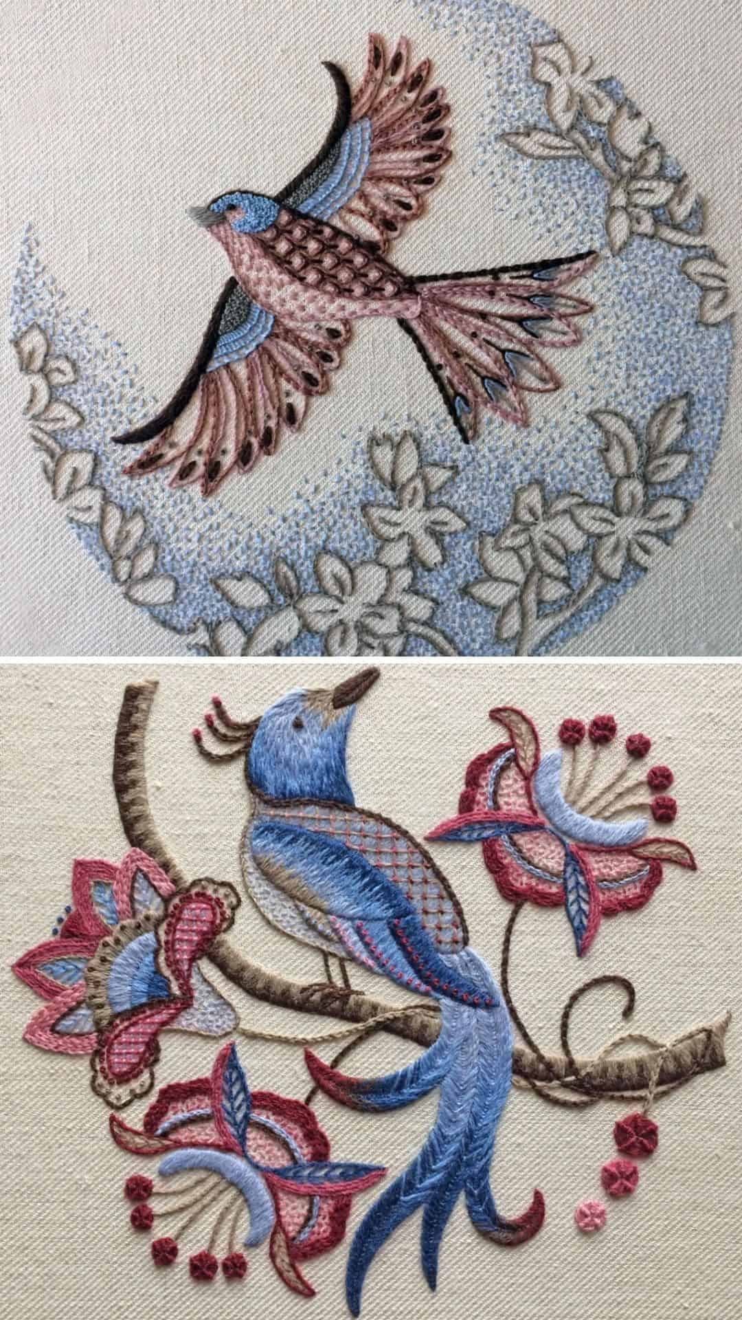 Bluebird embroidery co crewel work kits including a beautiful bird of paradise and chaffinch available to buy along with other beautiful crewel work patterns and kits I've shared on the blog #crewel #embroidery #pattern #bluebird #birdofparadise #chaffinch
