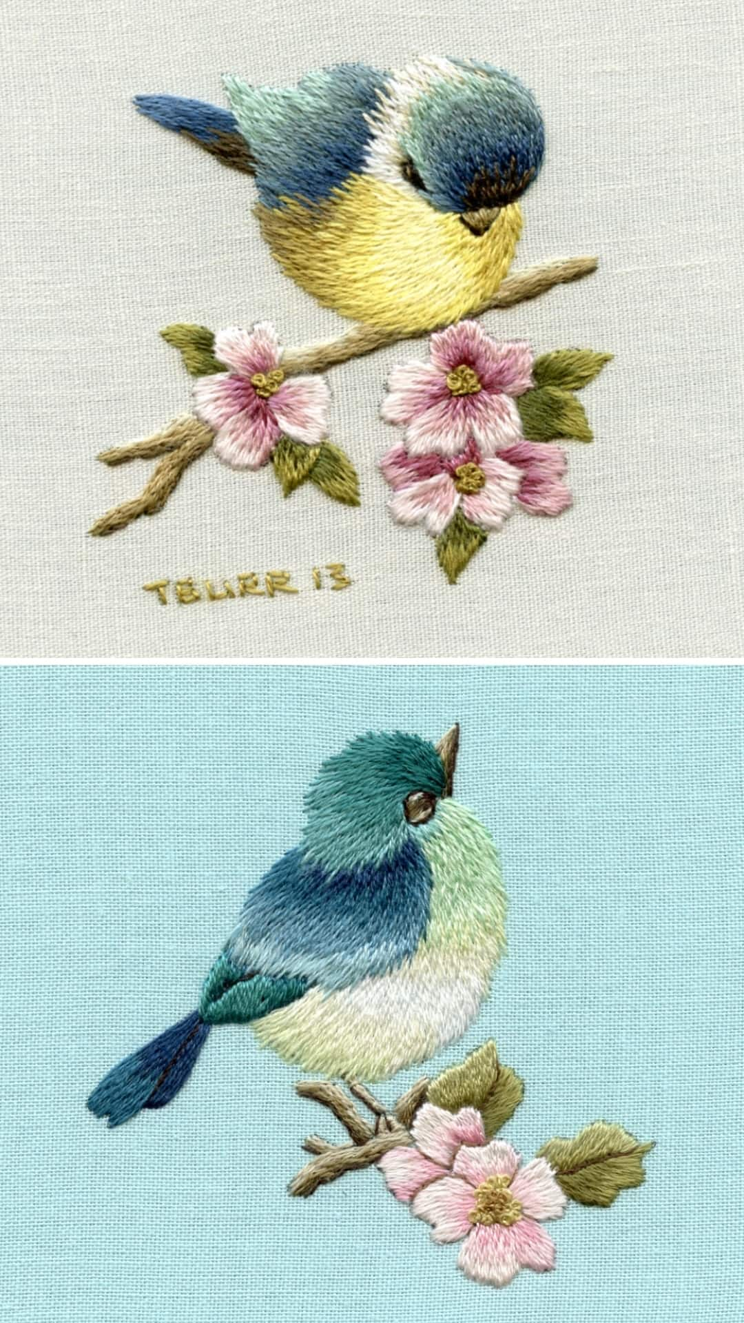 love these blue bird and blue tit embroidery patterns by Trish Burr - just one of the beautiful crewel embroidery ideas I've shared with all the links you need to buy the patterns and to get your free PDF download patterns too! #crewel #embroidery #pattern #bird