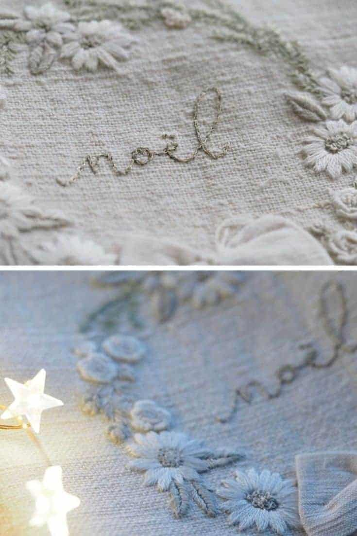 crewel embroidery kit white winter christmas wreath design on antique linen available to buy as a DIY kit from Etsy just one of the beautiful ideas I've shared with links to everything you need to enjoy crewel embroidery #crewel #embroidery #diy #kits #christmas #wreath