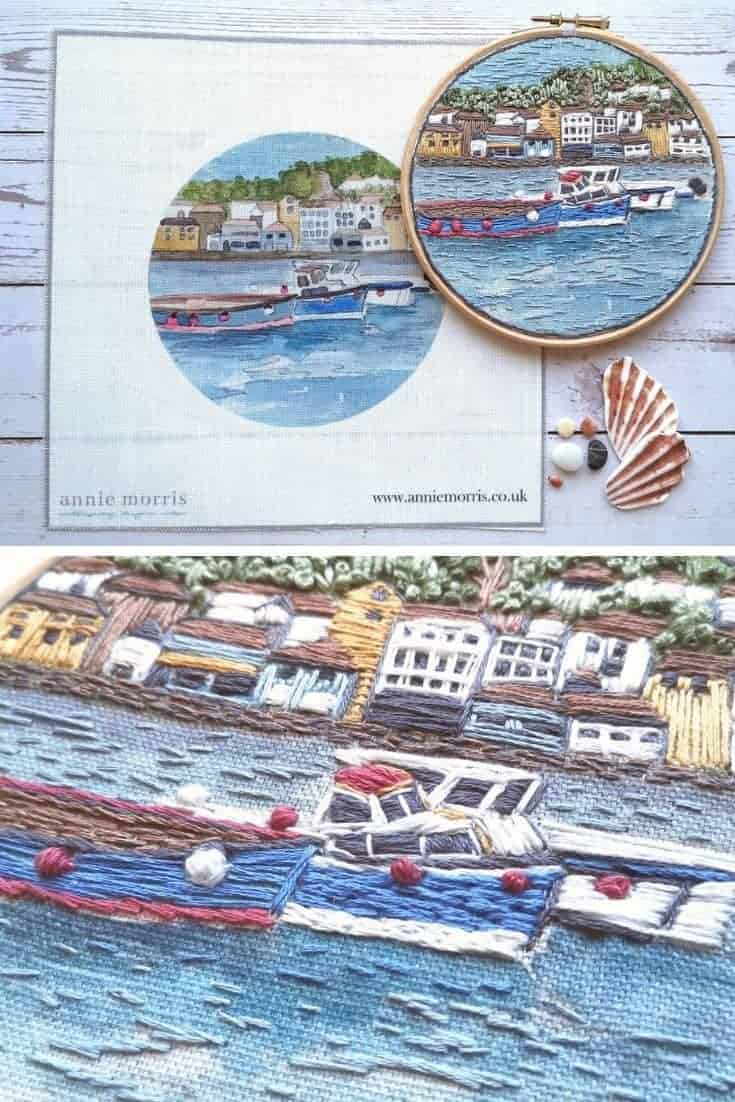 crewel embroidery kit coastal boats design on antique linen available to buy as a DIY kit from Etsy just one of the beautiful ideas I've shared with links to everything you need to enjoy crewel embroidery #crewel #embroidery #diy #kits #coastal #boats