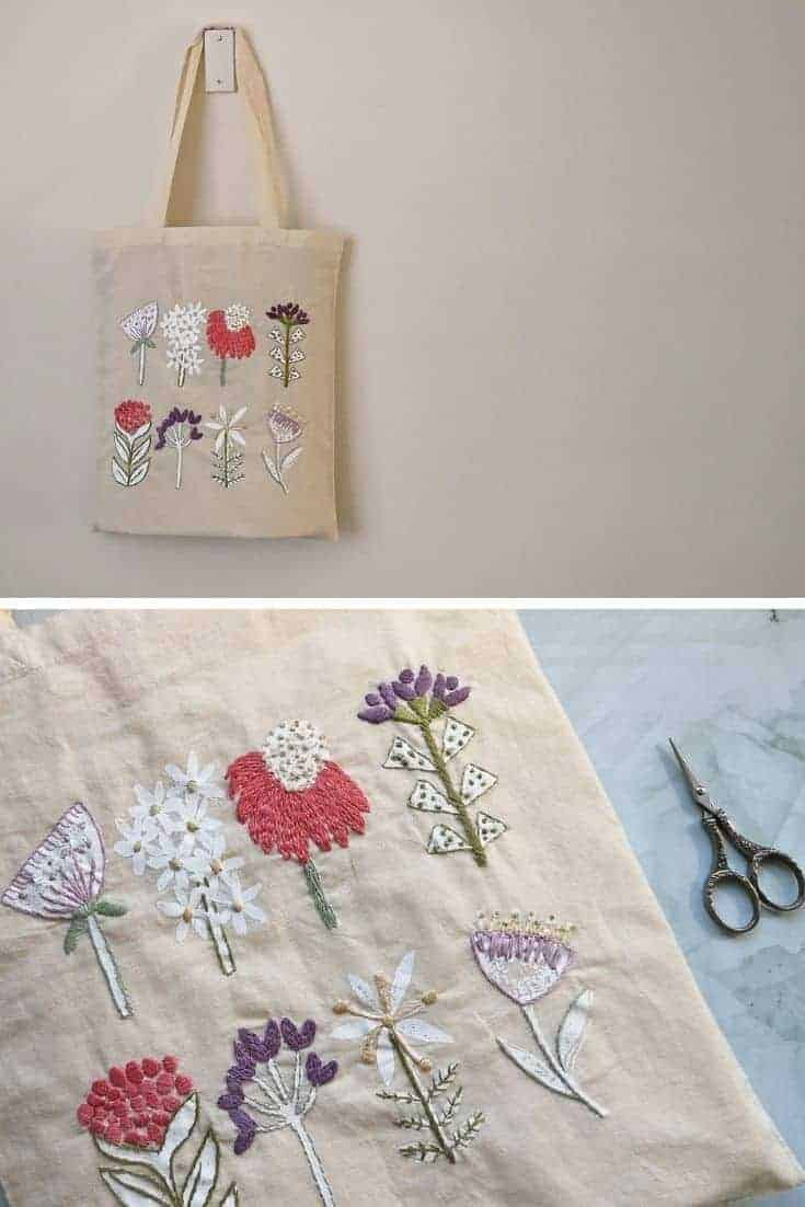 crewel embroidery botanical tote bag kit available to buy as a DIY kit from Etsy just one of the beautiful ideas I've shared with links to everything you need to enjoy crewel embroidery #crewel #embroidery #diy #kits #tote #bag #botanical