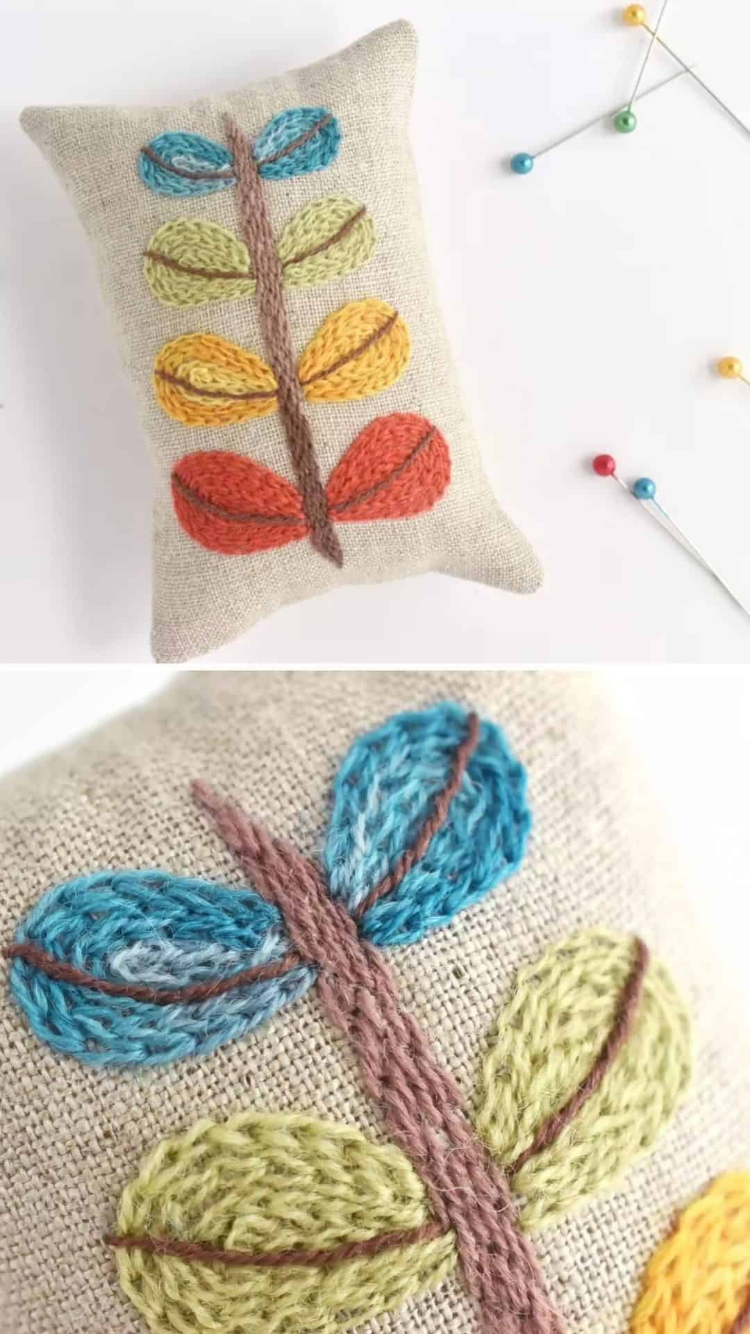 Love this simple crewel work pin cushion idea by Mollie Johanson - it's suitable for beginners and Mollie has shared her free pattern to have a go at making one yourself. The design has an Orla Kiely midcentury modern feel that I love #crewel #embroidery #pattern #free