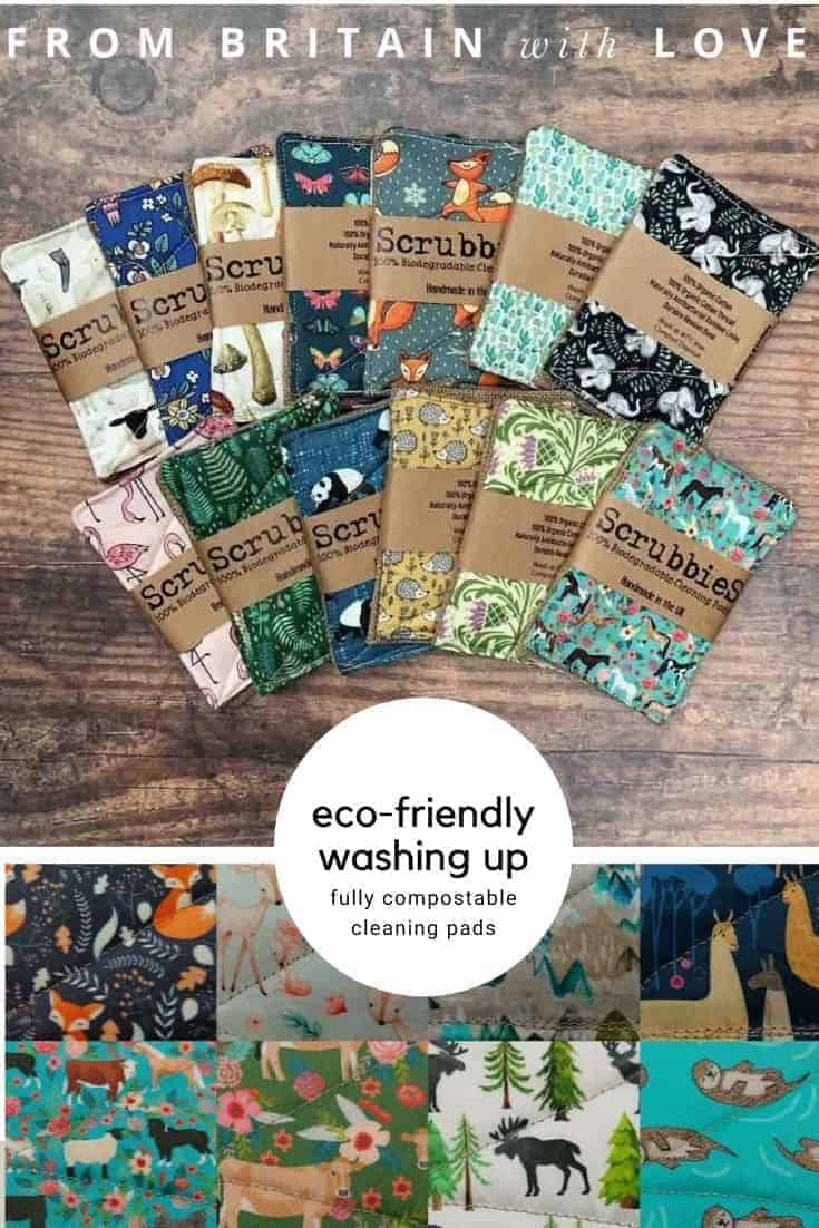 scrubbies compostable washing up pads - handmade and plastic-free organic alternative to the sponges and scourers normally found in supermarkets and that are a source of plastic waste and microplastics. Made of 100% organic cotton printed with eco-friendly dyes with bamboo lining for antibacterial properties and hessian backing for excellent scrubbiness. 100% organic cotton thread (no polyester because it doesn't biodegrade!) #eco #plasticfree #scourer #washingup #sponge #compostable