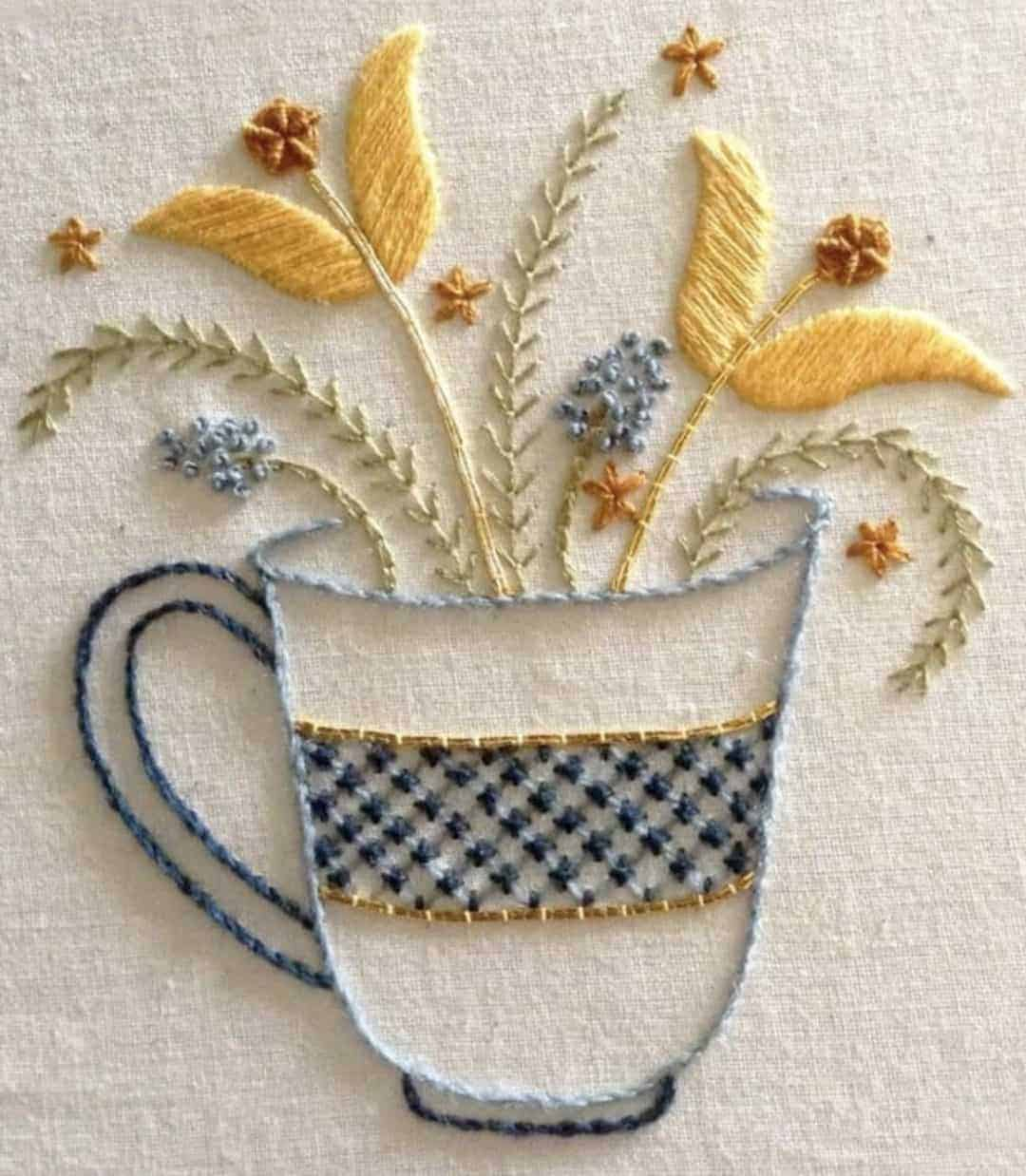Bluebird embroidery co Flower tea cup crewel work kit available to buy along with other beautiful crewel work patterns and kits I've shared on the blog #crewel #embroidery #kit #bluebird #tea #cup #flower