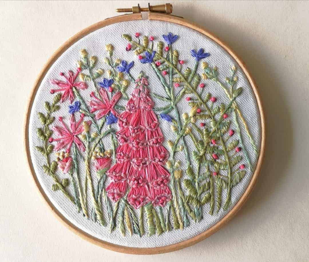 crewel embroidery kit foxglove available to buy as a DIY kit from Etsy just one of the beautiful ideas I've shared with links to everything you need to enjoy crewel embroidery #crewel #embroidery #diy #kits #foxglove