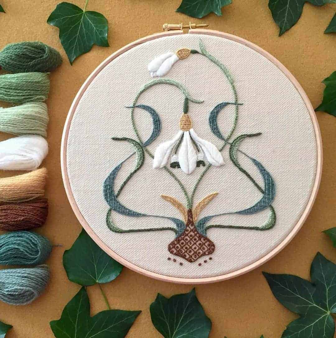 crewel embroidery kit galanthus snowdrop design available to buy as a DIY kit from Etsy just one of the beautiful ideas I've shared with links to everything you need to enjoy crewel embroidery #crewel #embroidery #diy #kits #snowdrop #galanthus
