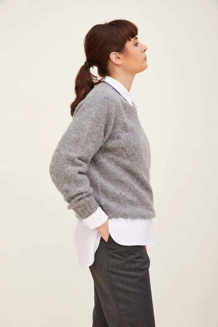 Love this grey brushed wool round neck jumper made in Scotland and part of sustainable clothing collection by h.huna - a wardrobe of well considered key pieces that all work together perfectly to take you anywhere, in all seasons and that you'll wear for years #wool #jumper #grey #madeinscotland #madeinbritain  #sustainable #clothing