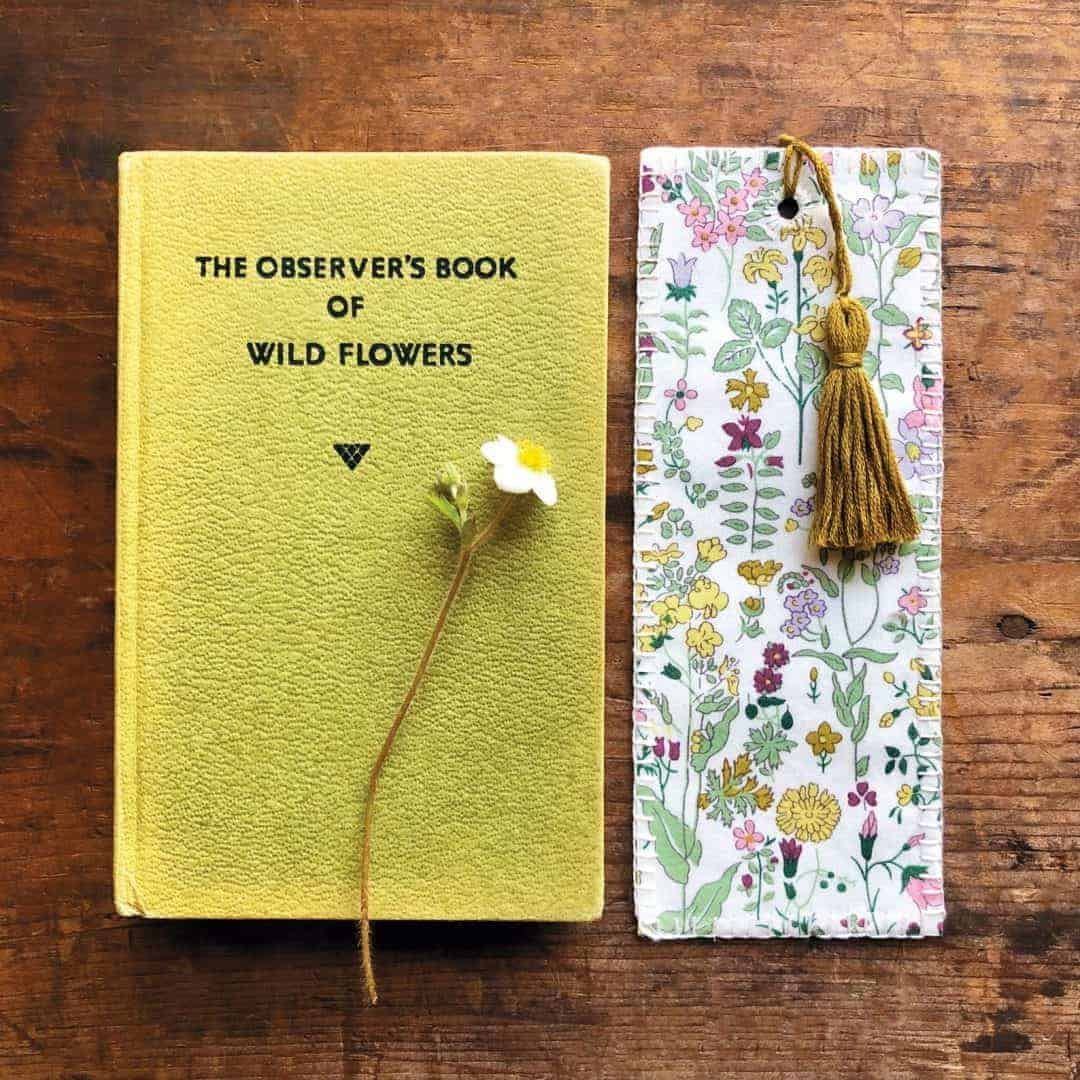 liberty fabric book mark diy kit from Etsy just one of the beautiful ideas I've shared with links to everything you need to enjoy crewel embroidery #crewel #embroidery #diy #kits #liberty #bookmark