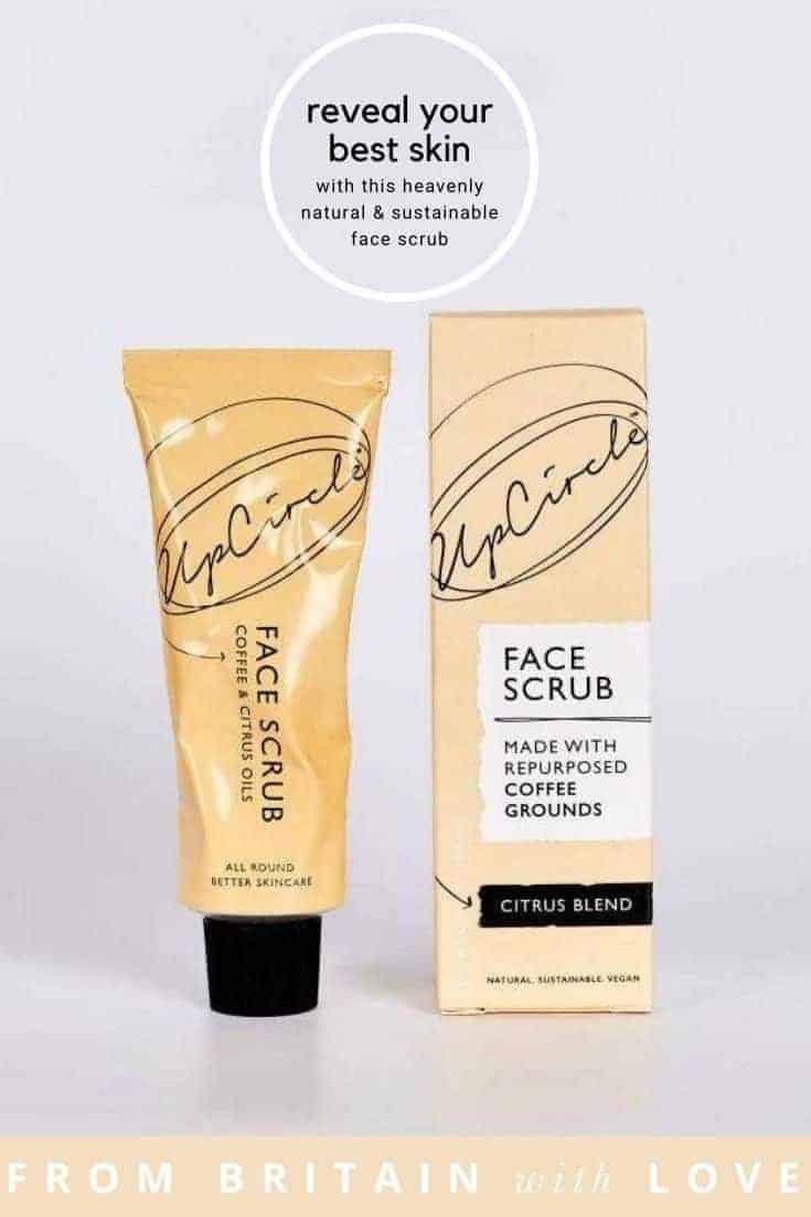 upcircle coffee face scrub citrus blend made with repurposed coffee grounds, rosehip, sweet orange and lemon verbena oils to buff away dry, dead cells to lave dehydrated skin feeling soft, smooth and glowing #organic #repurposed #sustainable #skincare #facescrub