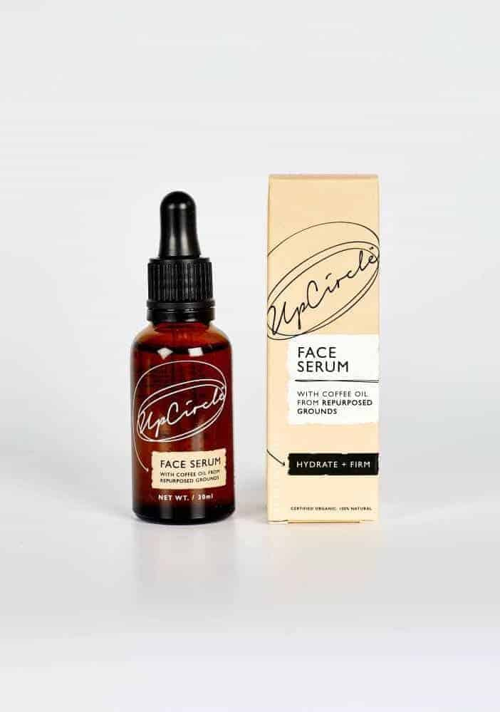 upcircle face serum organic with coffee oil made from repurposed coffee grounds, scented with geranium, rose and lemon essential oils with jojoba, sea buckthor and rosehip oils. Use morning and night to brighten the complexion, hydrate the face and boost collagen #sustainable #repurposed #serum #skincare #natural #ethicalbeauty