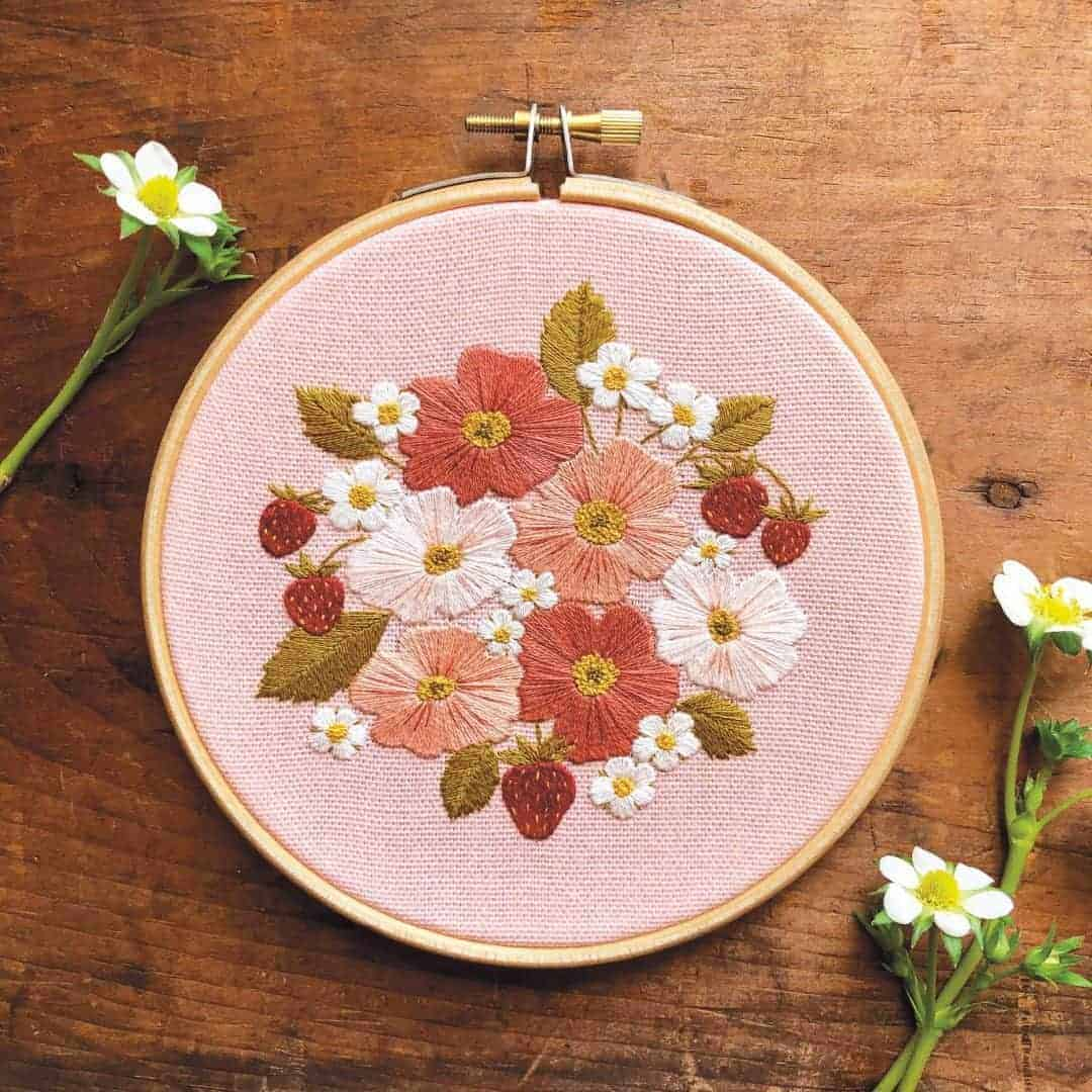 crewel embroidery kit wild rose and strawberry design available to buy as a DIY kit from Etsy just one of the beautiful ideas I've shared with links to everything you need to enjoy crewel embroidery #crewel #embroidery #diy #kits #wildrose #strawberry