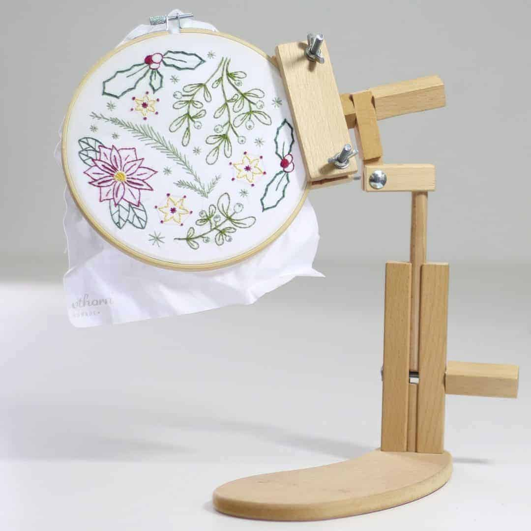 wooden embroidery hoop stand