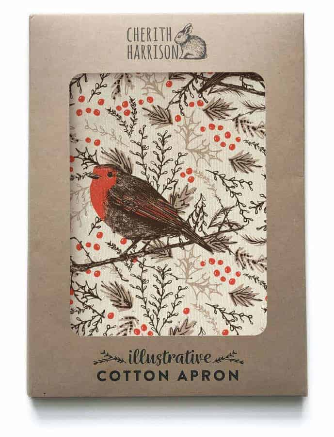 love this Christmas Robin cotton design by cherith harrison made in the uk #apron #robin #christmas #madeinuk