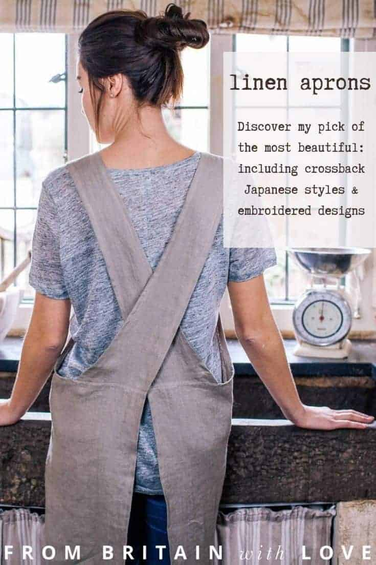 linen apron ideas to fall in love with including cross back Japanese styles as well as hand embroidered, botanical printed and more all made in the UK with care #linenapron #japanese #crossback #handmade