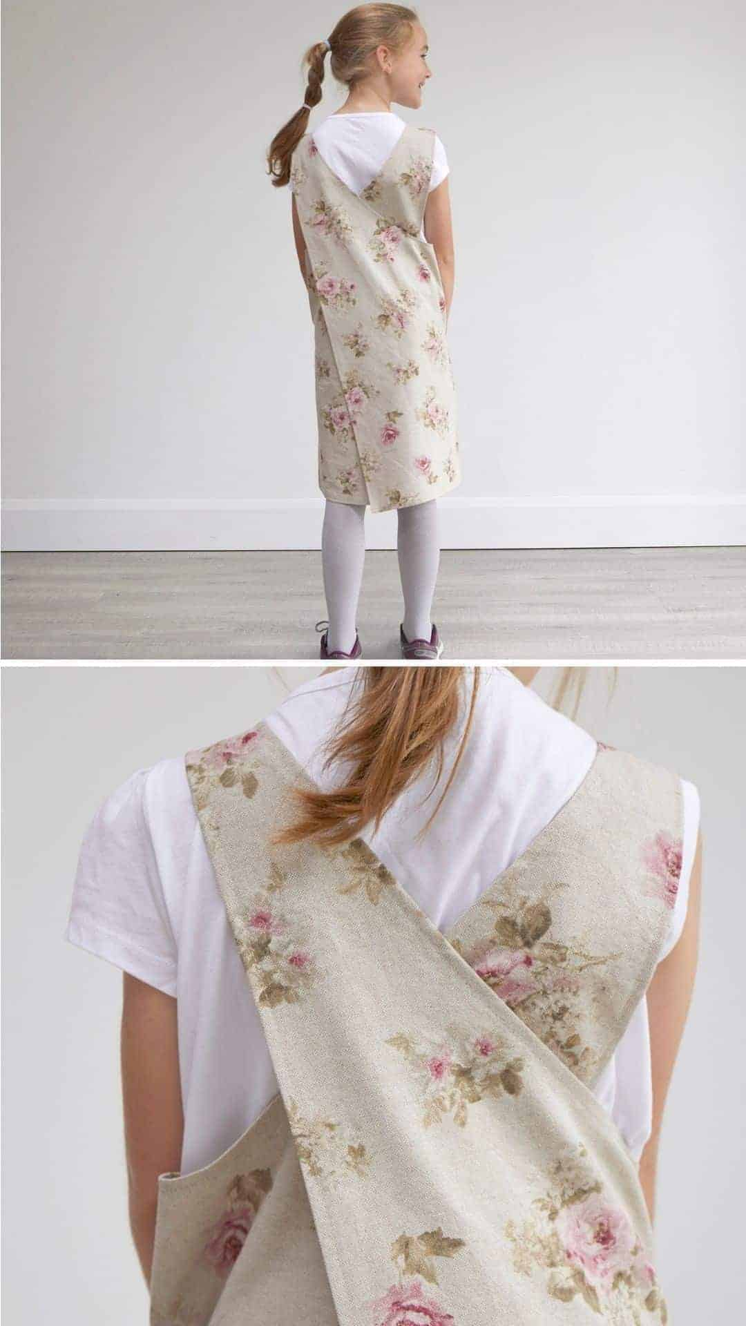 love this antique rose linen look japanese cross back apron for child handmade by Annie Willows. Matching adult apron available to buy too, with flower pockets on a plain apron #apron #rose #linenlook