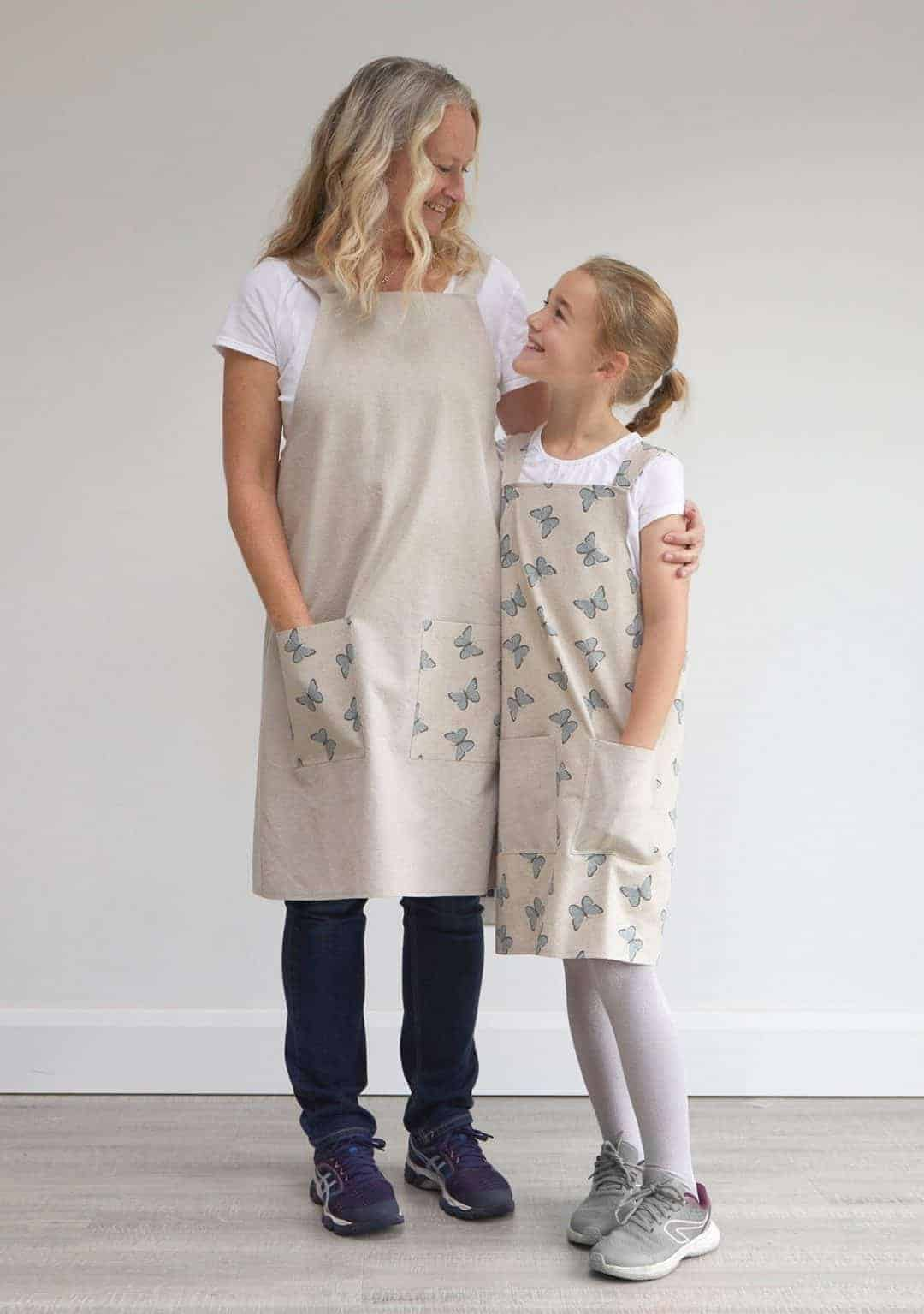 love these linen look cotton cross back japanese style mother daughter aprons handmade in natural and butterfly fabric #apron #natural #butterfly