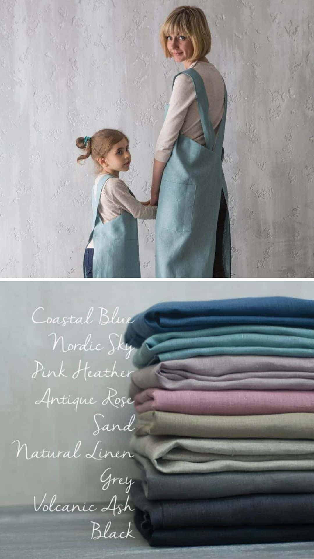 love these mother daughter crossback japanese style aprons from Bunny Street - available in a wide range of beautiful colours and handmade #linen #apron #japanese #crossback #motherdaughter