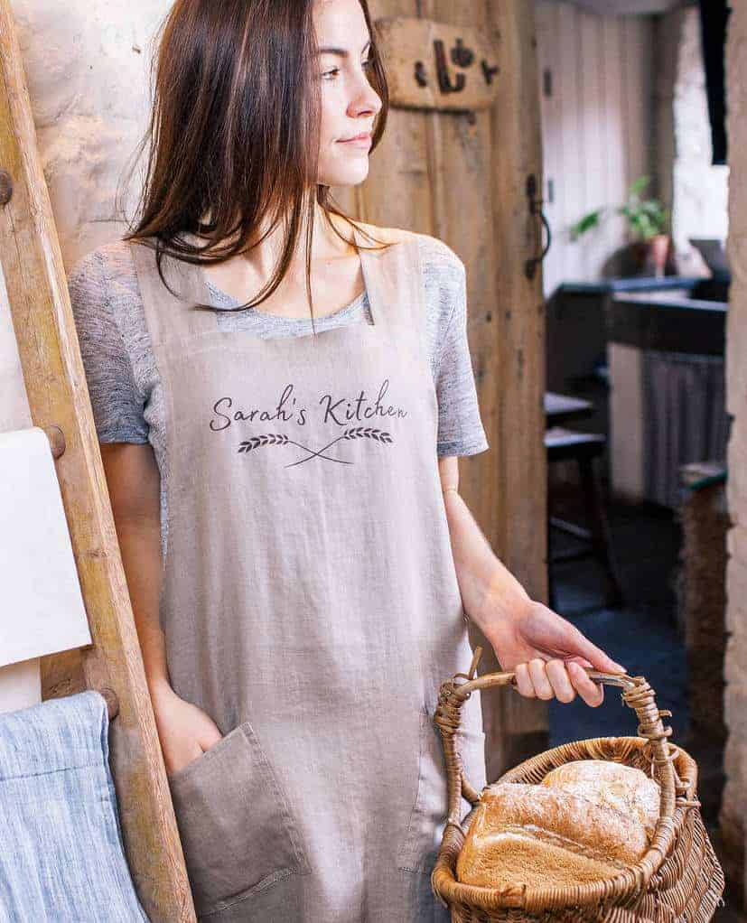 love these personalised wheatsheaf linen cross back japanese style aprons in soft grey or natural linen personalisable with your own wording #linen #apron #personalised #grey #natural #crossback #japanese