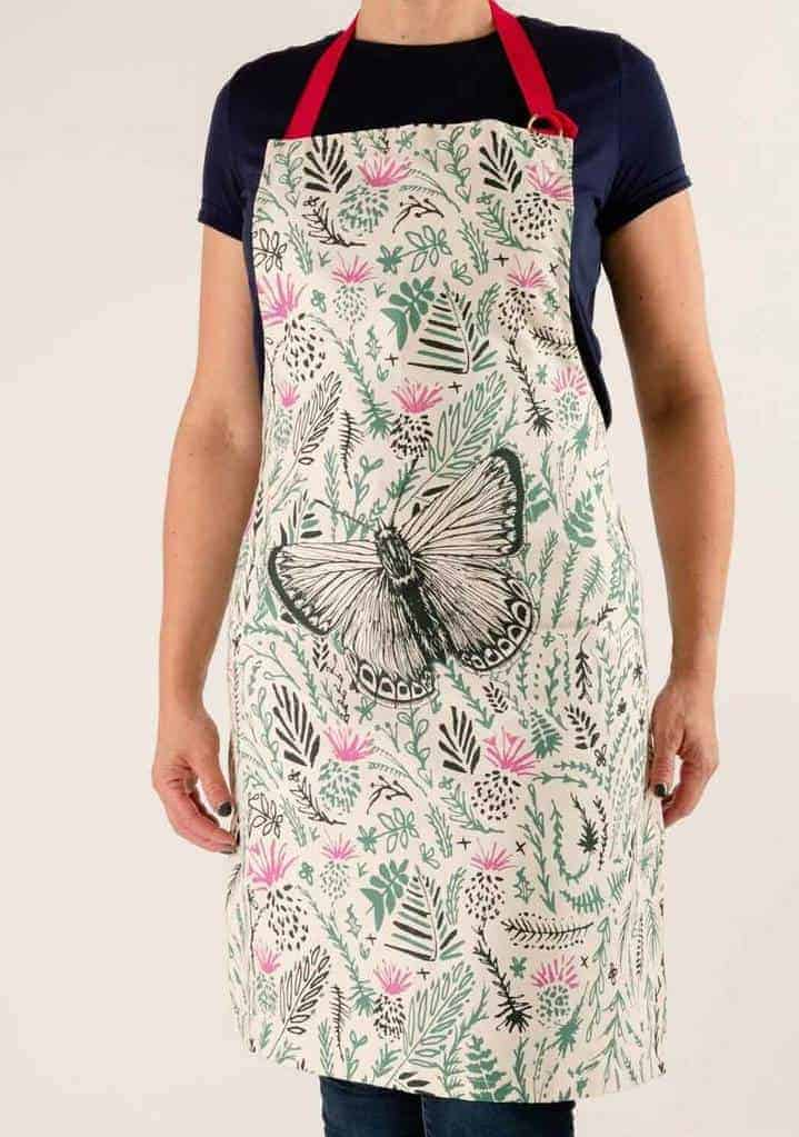thistles and butterfly cotton apron by cherith harrison made in the uk #apron #butterfly #thistles #madeinuk