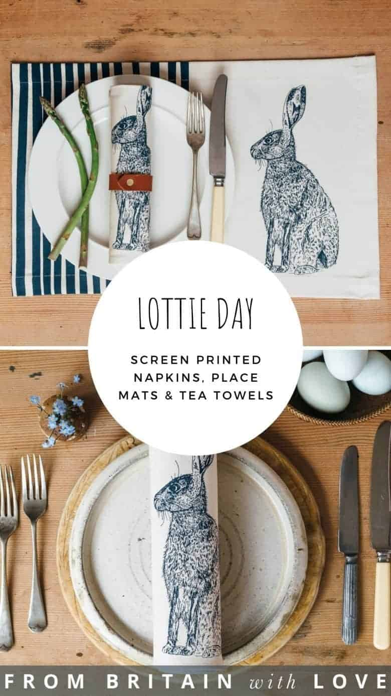 adore these screen printed textiles by Lottie Day - discover place mats, napkins, tea towels, prints and zipped pouches with designs inspired by Norfolk and her dad's allotment - including this blue hare, vegetables, flowers, lobsters, bees and more