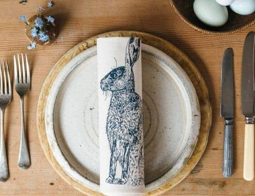 hare napkin and place mat lottie day