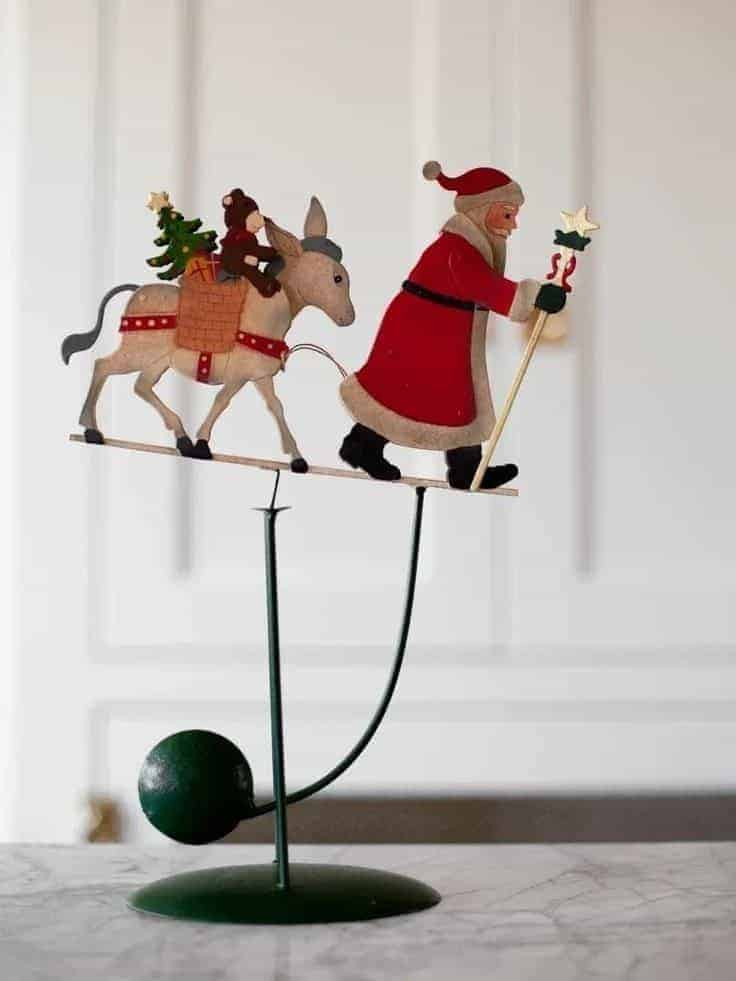 santa father christmas with donkey painted metal christmas decoration