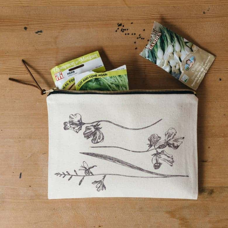 vintage flowers zipped pouch seed holder, coin purse, cosmetic bag by lottie day
