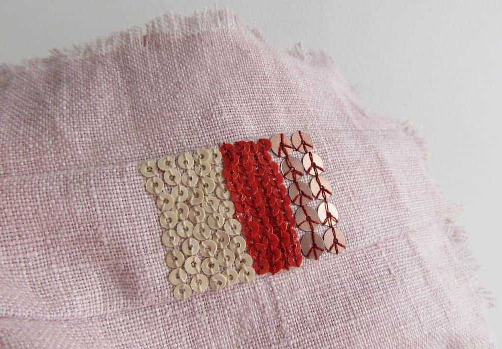 repair linen with sequins mixed sampler patch