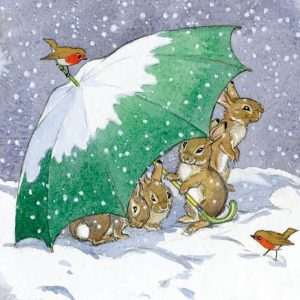 bunnies in the snow sustainable charity christmas cards 20 pack