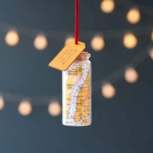 personalised christmas bauble glass bottle decoration with customised vintage map and label