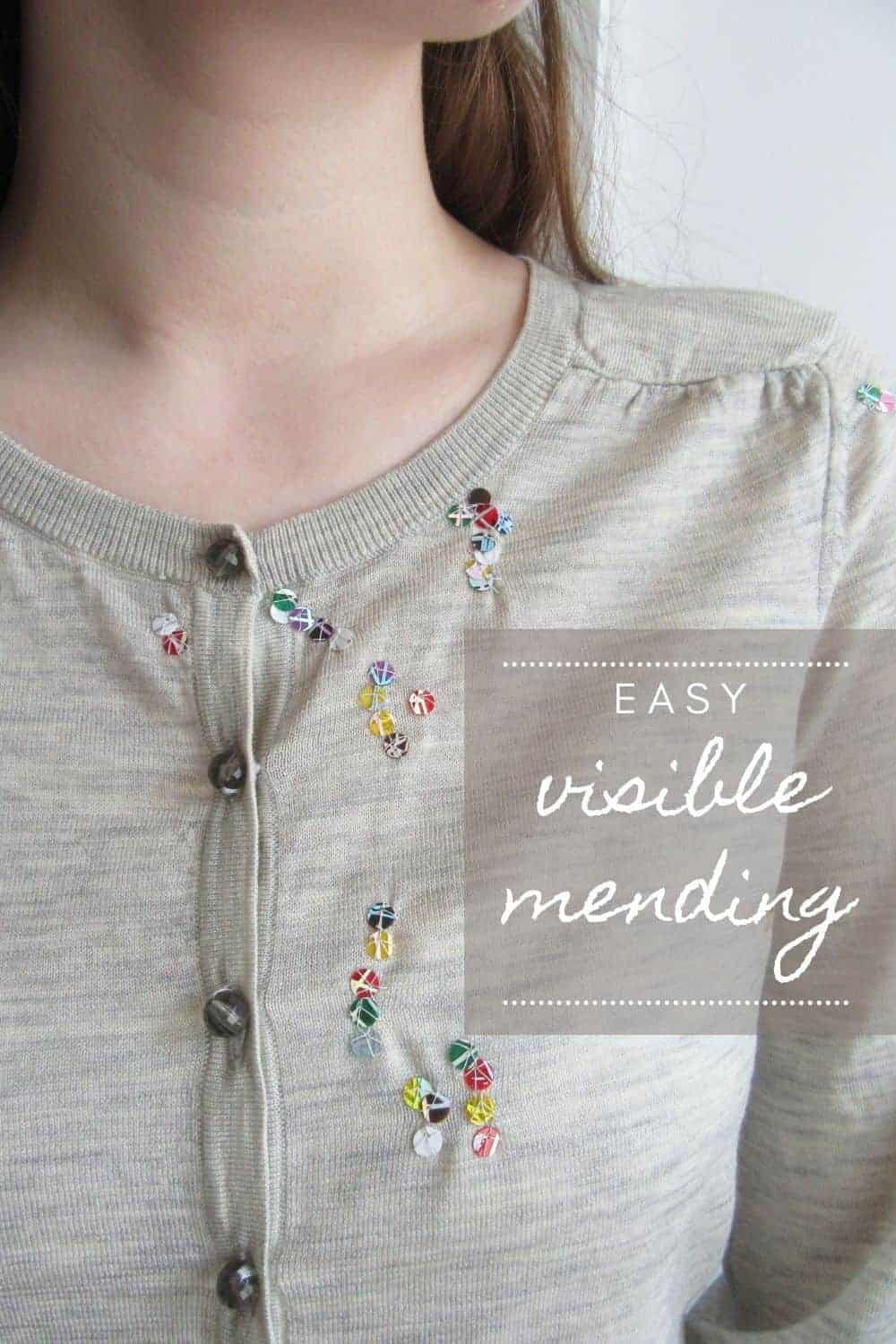 easy visible mending step by step tutorial diy ideas by maker Lisa Bennett using sequins to breath beautiful new life into moth eaten old knitwear and worn clothing and fabric #repair #makedoandmend #visiblemending #sequins