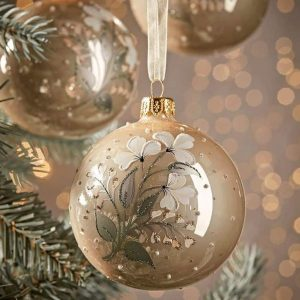 glass christmas baubles decoration hand painted with white flowers on gold pearl glass from cox & cox